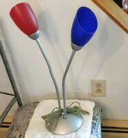"Goose Neck Table Lamp 24"" tall Art Deco Home Decor Red Blue Plastic Shades"