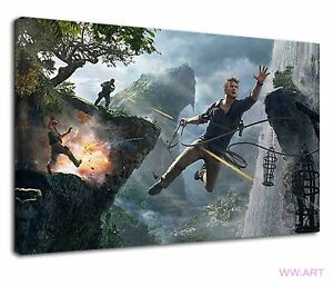 Nathan Drake Jumping From Cliff In Uncharted 4 Canvas Wall Art Picture Print