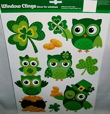 St. Patrick's Day  Window Clings  GREEN OWLS WITH POT OF GOLD