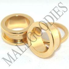 """1493 Screw on/fit Steel Anodized Gold Tunnels Earlets Ear Plugs 1/2"""" Inch 12.7mm"""