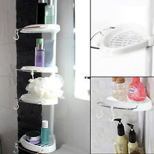 4 Tier Adjustable Telescopic Bathroom Corner Shower Shelf Stand Caddy White