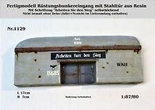 Nr.1129 Fertigmodell Rüstungsbunker m.Stahltür WKII 1:87/H0 Resin für Diorama