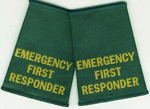 Woven Emergency First Responder Epaulette Slider Pair Green Epaulettes
