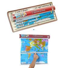 CARTOGRAPHE CALY 3 cartes plastique Monde Europe France NEUF