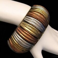 Vintage Extra Wide Chunky Bangle Cuff Bracelet TRI COLOR Mixed Metals Modernist