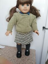 AMERICAN GIRL PLEASANT COMPANY GREEN SWEATER PERFECTLY PLAID SKIRT OUTFIT