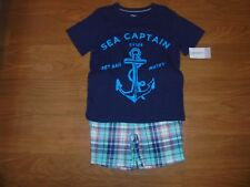 NWT Carter's aqua & blue plaid shorts with matching anchor shirt outfit set 4
