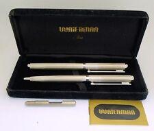 Uncommon 1978 Silver Plated Waterman Goutte Fountain Pen in Box, 18k Gold Nib
