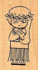 Hula Girl Doll, Wood Mounted Rubber Stamp JUDIKINS - New, 3534E