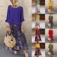 Women's Vintage Print Patchwork O-Neck Two Pieces Plus Size Pockets Maxi Dress