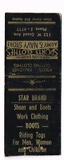 1940s Star Brand Boots Work Clothes Army Navy Store Wyoming Matchcover