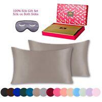 BlueHills Silk Pillowcase 3 piece Gift Set 100% Pure Mulberry Silk - Queen Taupe
