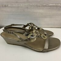 Easy Steps Casper Size 9 C Leather Gold Summer Wedge Sandals Strappy #568