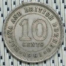 *GOOD Grade* 1961H - Malaya - 10 Cents Elizabeth II #CCDK