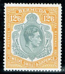 Bermuda 1938 SG120e 12/6 Grey & Pale Orange P13.25 VF V/L/M/M Cat. £100.00