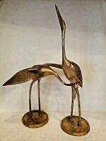 Set of 2 Vintage Brass Standing Heron Crane Bird Figurines Leonard Mad Men MCM