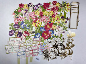 67pc Lot Anna Griffin Flower Box Embellishments Card Making Scrapbooking