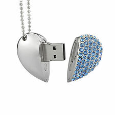 Kootion Crystal Heart Necklace 32GB USB Flash Drive Flash Memory Stick Thumb Pen