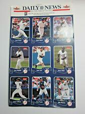 NY Yankees uncut sheet of 9 Baseball Cards 2004 FLEER DAILY NEWS Jeter Rivera