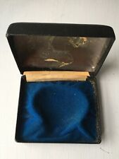 Vintage Empty Black Metal Watch Box With Fitted Interior And Domed Lid - Worn