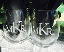 2 Personalized Etched Monogram 21oz Stemless Wine Glasses Wedding or Shower Gift