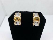 14k Multi-Tone Gold Oval Citrine Diamond Omega Back Earrings