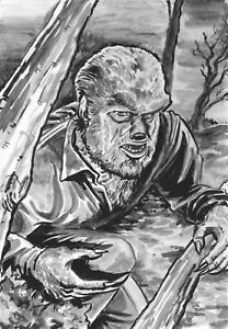 Wolfman  (Mars Black) ....original acrylic paint illustration