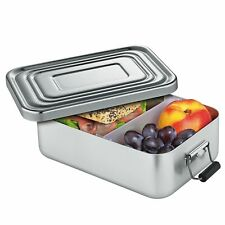 "Kuchenprofi 9"" X 6"" Large Aluminum Lunch Box  with Divider - Silver"
