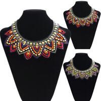 Fashion Jewelry Chain Resin Seed Beads Choker Chunky Statement Bib Necklace