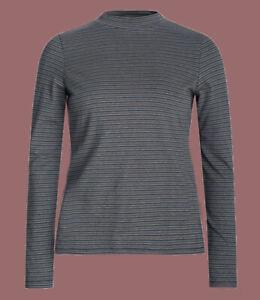 Seasalt Round Neck Organic Cotton Long Sleeve Striped Grey T shirt Top Blouse