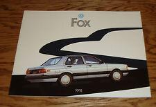 Original 1991 Volkswagen VW Fox Deluxe Sales Brochure 91