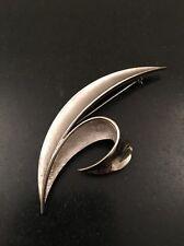 Crown Trifari Silver Tone Leaf Modernist Brooch Pin MCM