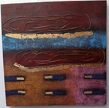 Quadro astratto ad olio materico cm 80x80 base blu oro Viola moderno arredo n 1