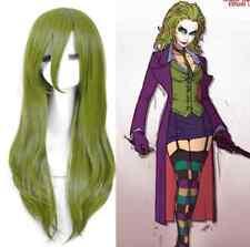 Batman Female Joker cosplay wig long straight green Synthetic hair full Wig+cap