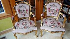 Pair Vintage Louis Xv Style Upholstered Backs&Seats,Padded Arm Rests Armchairs
