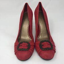Gianni Bini 9.5 Womens Red Heels Pumps Buckle Detail Suede Career Work