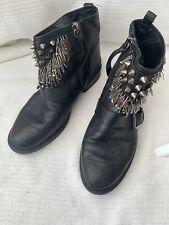 Zara Black Leather Studded Biker Ankle Boots 40