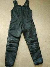 Skin A B A Vintage Retro Real Leather Biker Dungarees Motorbike Leathers Size M