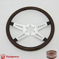 "14"" Billet Steering Wheel Wood Half Wrap Ford GMC GTO Impala Chevy"