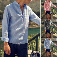 INCERUN Men's Collarless Stripe Grandad Hippy Shirt Long Sleeve Blouse Top Tee