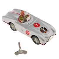 Vintage Mechanical Racing Car with Key Model Wind-up Clockwork Metal Toy