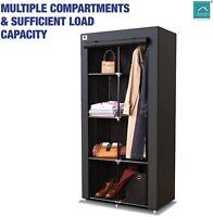 Knight Canvas Portable Double Wardrobe Shelving Clothes  L88cmxW45cmxH170cm