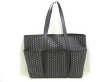 Auth MOYNAT Gardener Bag Black DarkGray Gray Coated Canvas &  Leather Tote Bag