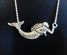 """Ariel La Sirenita 32x75mm tibetano plata encanto colgante collar largo, 20"""""""