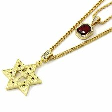 """Mens Gold Plated Small Red Ruby & Star of David Cross Pendant 3mm30"""" Cuban Chain"""