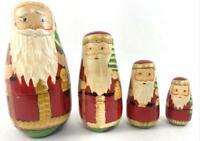 Vintage Nesting Santa Dolls Set Of 4 Carved Wood Hand Painted Christmas Decor