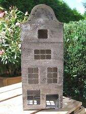 """Shabby Deko Laterne Haus """"Lübeck"""" grau gewischt Metall Landhaus Vintage Advent"""