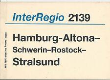 Zuglaufschild InterRegio 2139