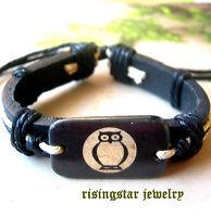 Men's Mythical Night Owl Yak Bone Surfer Biker Fashion Leather Handmade Bracelet