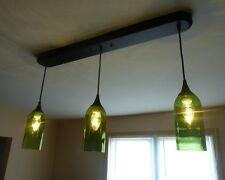 Cabernet Merlot Green Glass Wine Bottle 3 Pendant Light Lamp Bar Kitchen